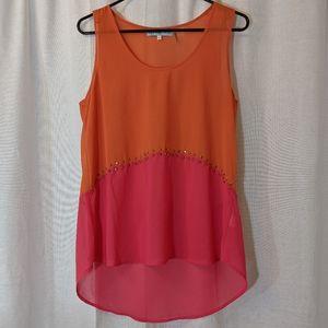3 For $15 Orange & Pink Sheer Stuffed Tank Sz M